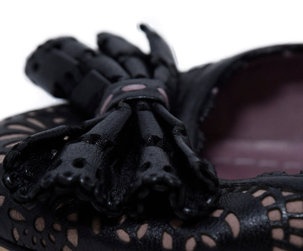 Christian Dior Black Lilac Cut Leather Flats 8