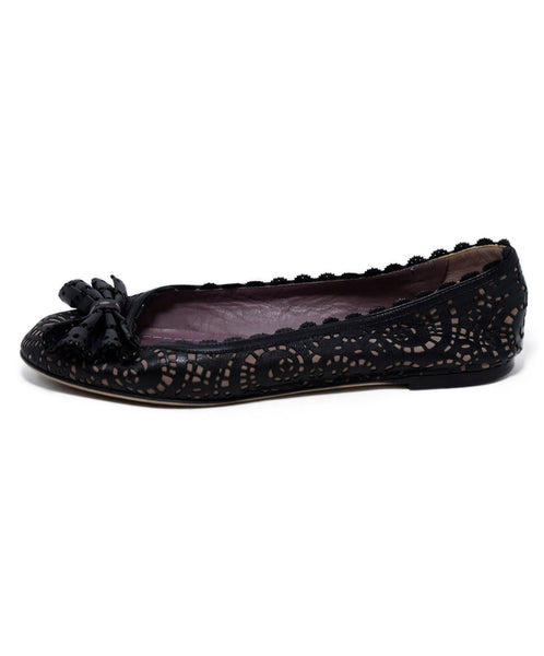 Christian Dior Black Lilac Cut Leather Flats 2
