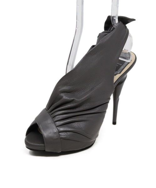 Christian Dior Grey Leather bow Trim Heels