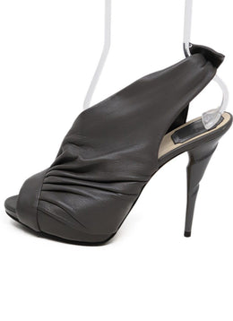 Christian Dior Grey Leather bow Trim Heels 1