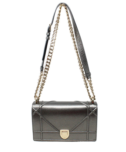 Christian Dior Metallic Pewter Leather Crossbody Bag with Chain Shoulder Strap 6