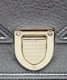 Christian Dior Metallic Pewter Leather Crossbody Bag with Chain Shoulder Strap 10