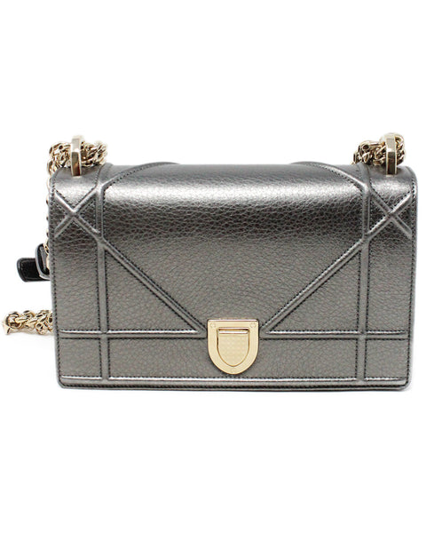 Christian Dior Metallic Pewter Leather Crossbody Bag with Chain Shoulder Strap 1