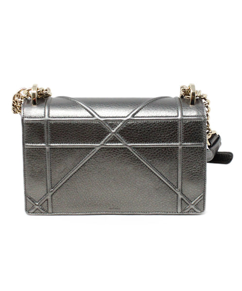 Christian Dior Metallic Pewter Leather Crossbody Bag with Chain Shoulder Strap 3