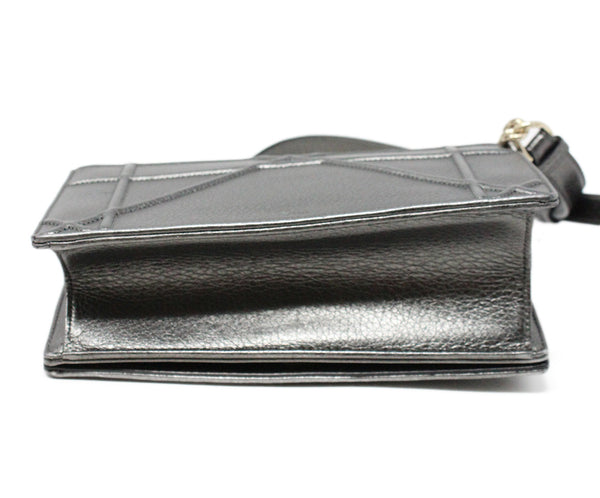 Christian Dior Metallic Pewter Leather Crossbody Bag with Chain Shoulder Strap 4