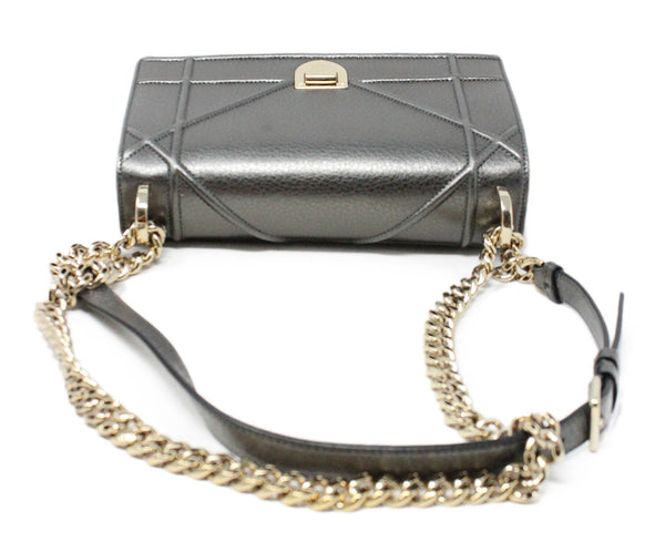 Christian Dior Metallic Pewter Leather Crossbody Bag with Chain Shoulder Strap 5