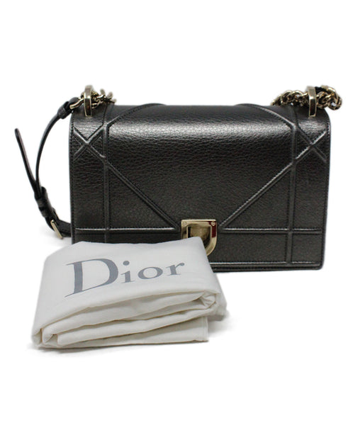 Christian Dior Metallic Pewter Leather Crossbody Bag with Chain Shoulder Strap 7
