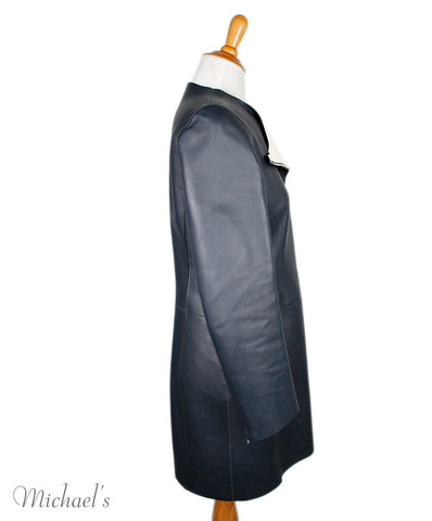 Coat Christian Dior Size 4 Navy Beige Leather Outerwear