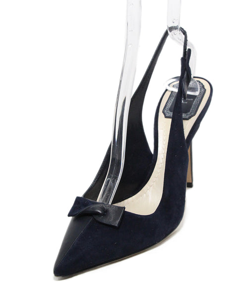 Christian Dior Navy Suede bow sling back heels 1