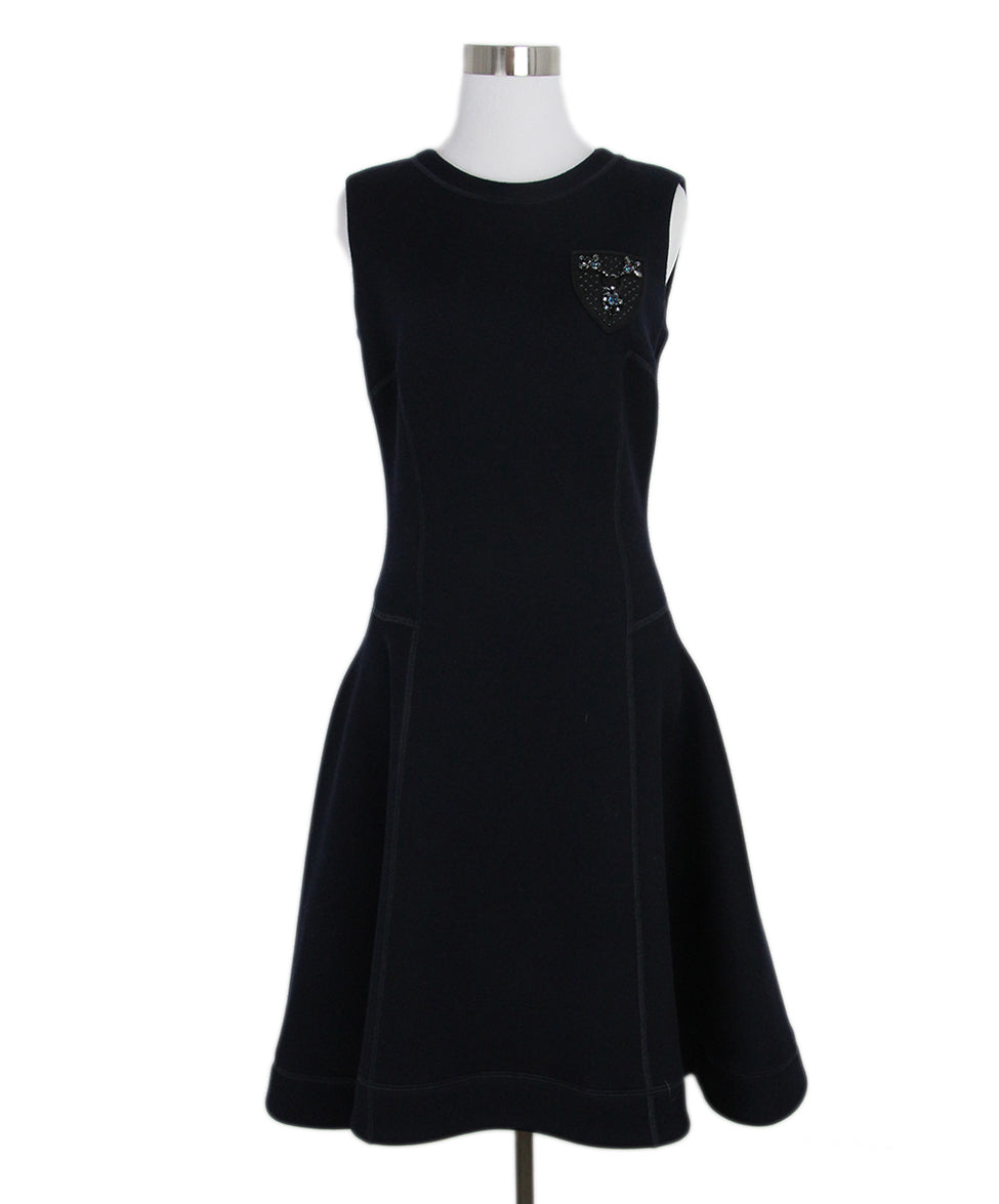 Christian Dior Navy Wool Jewel Detail Dress 1