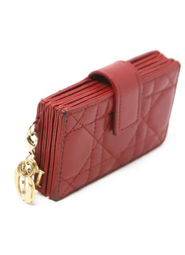 Card Case Christian Dior Red Quilted Leather Leather Goods 2