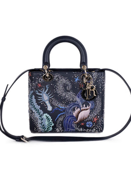 Christian Dior Lady Navy Leather Embroidery Beaded 'Sea Life' Handbag 1