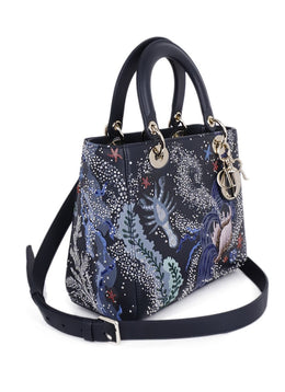 Christian Dior Lady Navy Leather Embroidery Beaded 'Sea Life' Handbag 2