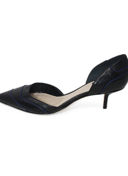 Christian Dior Black Leather Heels with Blue Leather Trim 2
