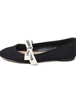 Christian Dior Shoe Black Nylon White Trim Shoes 1