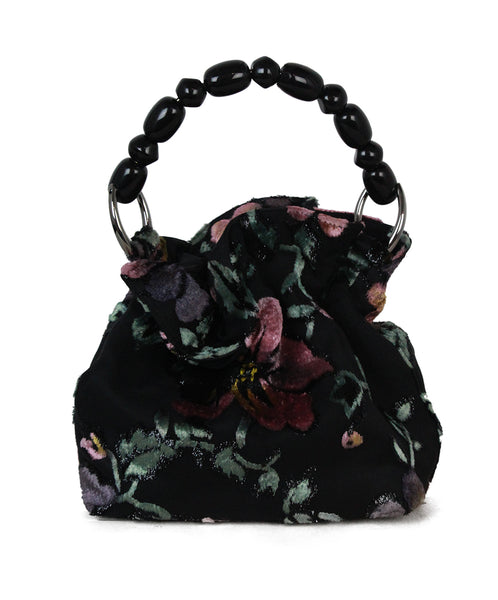 Christian Dior black floral velvet bag 1