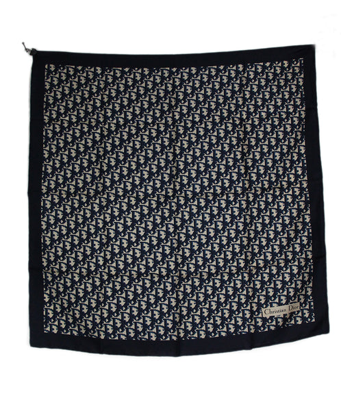 Christian Dior Blue Navy Monogram Silk Scarf 3