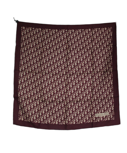 Christian Dior Burgundy Monogram Silk Scarf 3