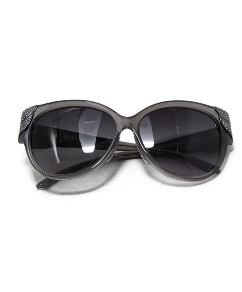 Christian Dior Grey Frame Rhinestone Trim Sunglasses 1