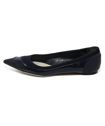 Christian Dior Navy Patent Leather Suede Trim Flats 1