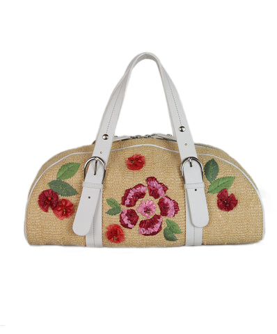 2b596e926a2 Christian Dior tan Raffia white pink leather floral bag 1 ...