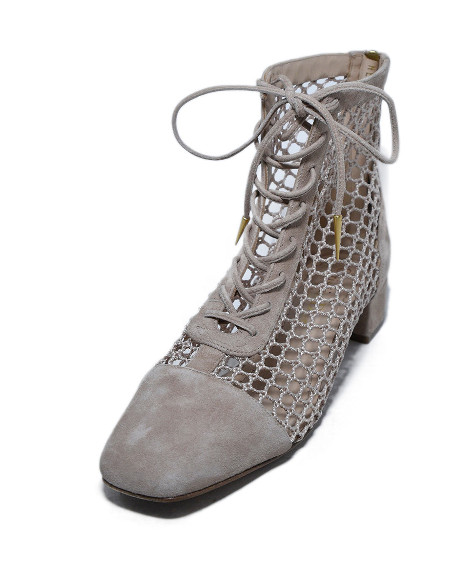 Christian Dior Neutral Tan Suede Mesh Lace Up Booties 1