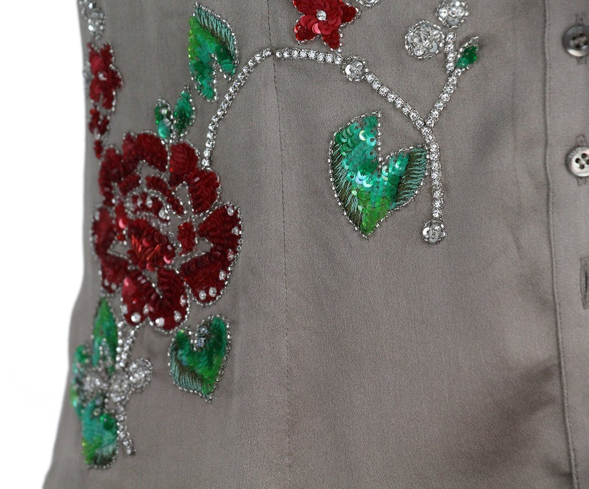 Christian Dior taupe silk red green sequin blouse 6