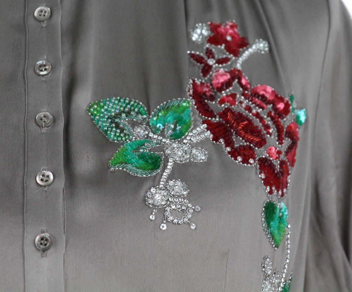 Christian Dior taupe silk red green sequin blouse 7