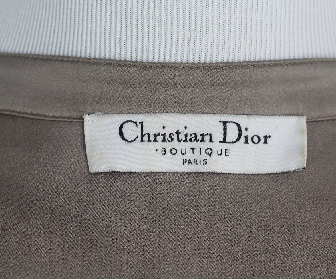 Christian Dior taupe silk red green sequin blouse 4