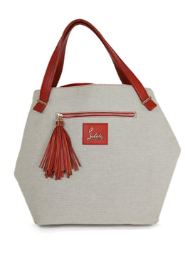 Christian Louboutin Neutral Canvas Tote Handbag 1