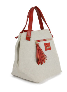 Christian Louboutin Neutral Canvas Tote Handbag 2