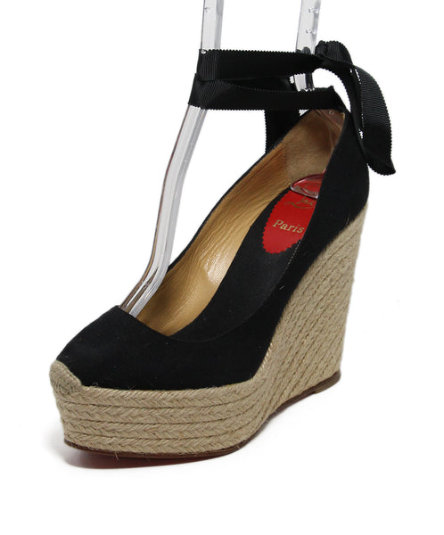 Christian Louboutin Black Beige Canvas Espadriles Wedge 1