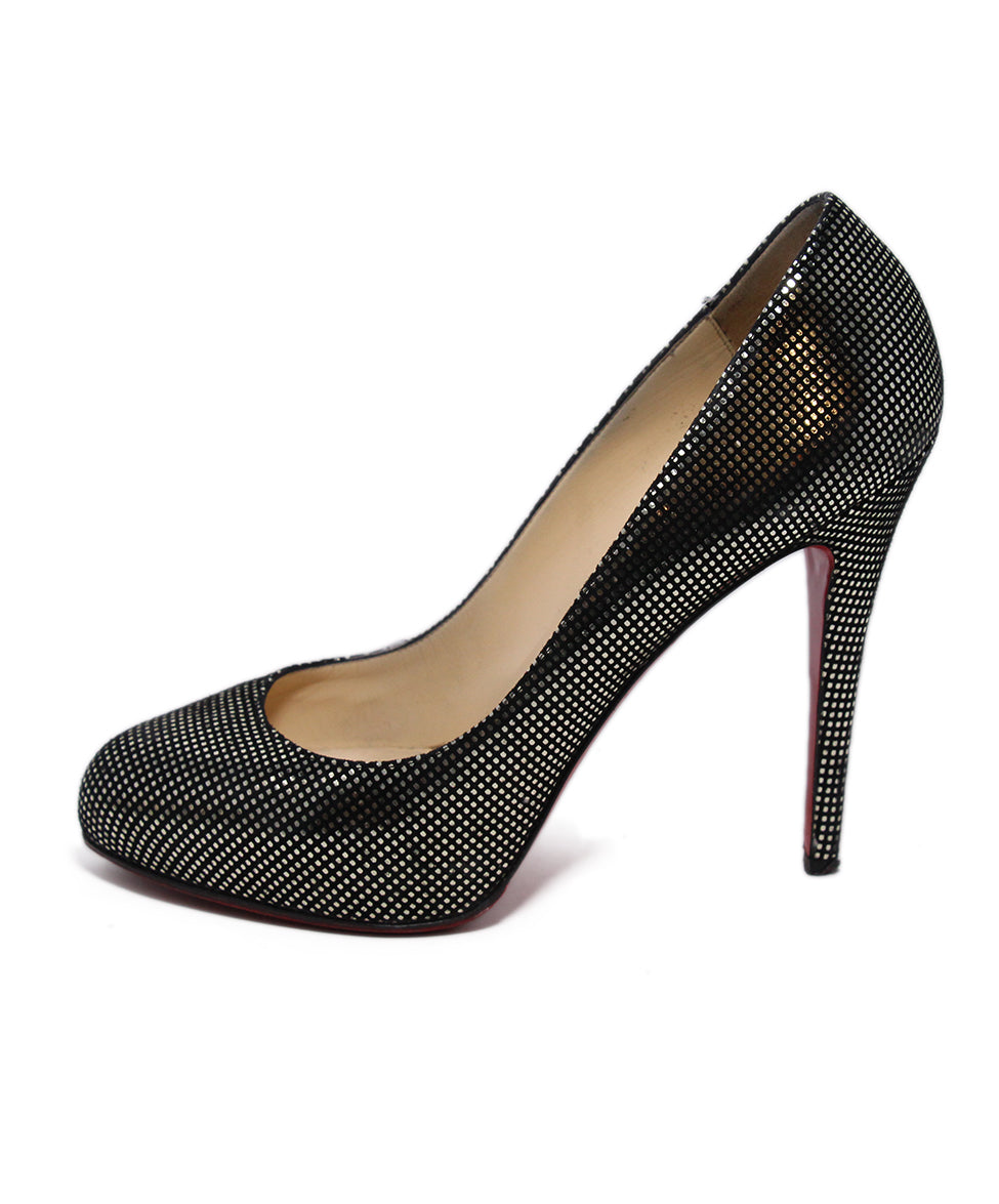 Christian Louboutin Black Gold Dot Leather Heels 2
