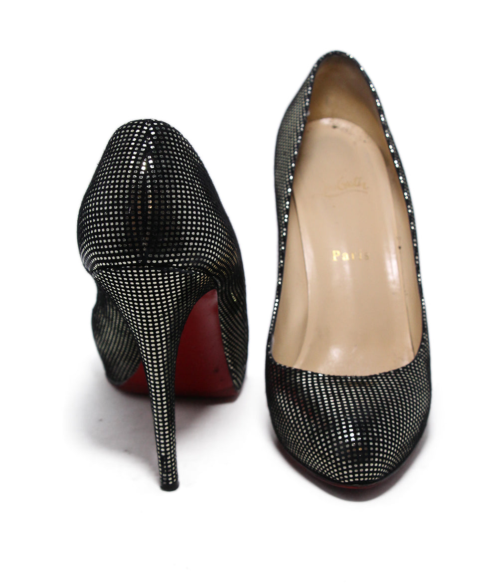 Christian Louboutin Black Gold Dot Leather Heels 3