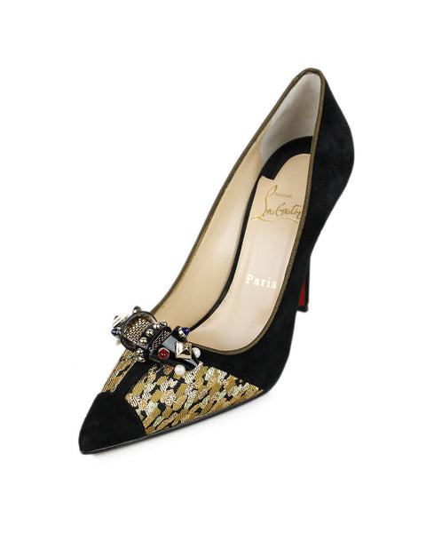Christian Louboutin Black Gold Suede Studs Shoes Sz 39.5