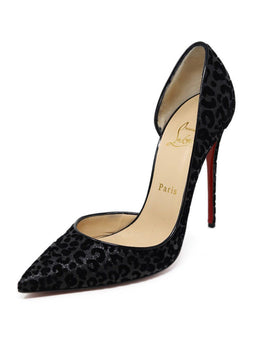 Heels Shoe Christian Louboutin Black Leopard Print Cut Velvet Shoes
