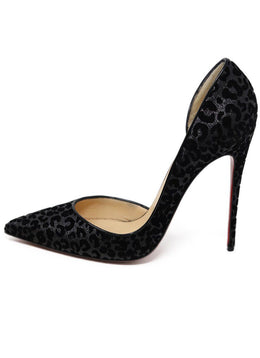 Heels Shoe Christian Louboutin Black Leopard Print Cut Velvet Shoes 1
