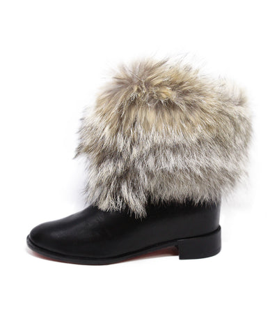 Christian Louboutin Black Leather Fur Trim Boots 1