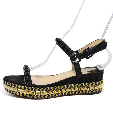 Christian Louboutin Black Leather Gold Stud Sandals 1