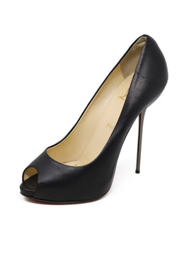 Heels Christian Louboutin Shoe Black Leather Gunmetal Heel Shoes