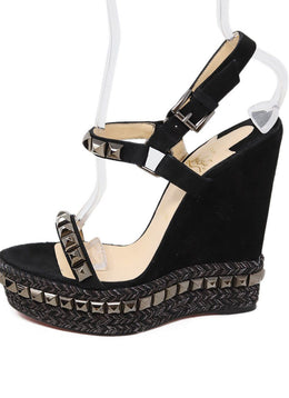 Christian Louboutin Black Suede Metal Studded Wedges 1