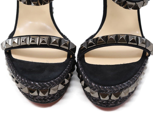 Christian Louboutin Black Suede Metal Studded Wedges 5