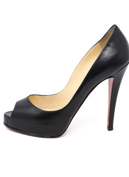 Heels Christian Louboutin Shoe Size US 7 Black Leather Peep Toe Shoes