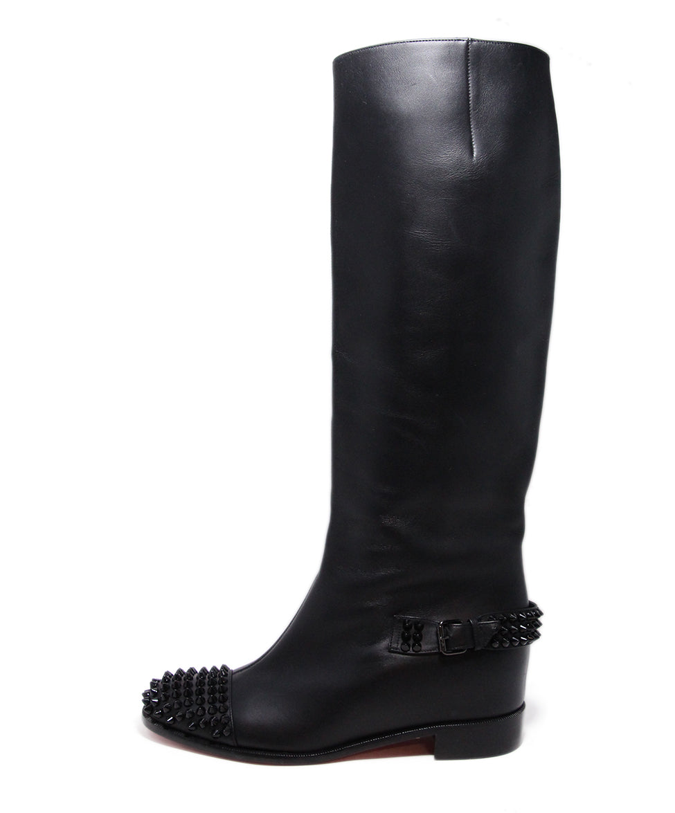Christian Louboutin Black Leather Studs Boots 2