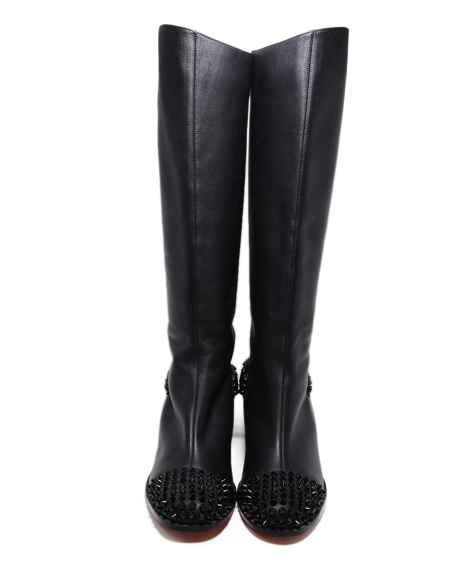 Christian Louboutin Black Leather Studs Boots 4