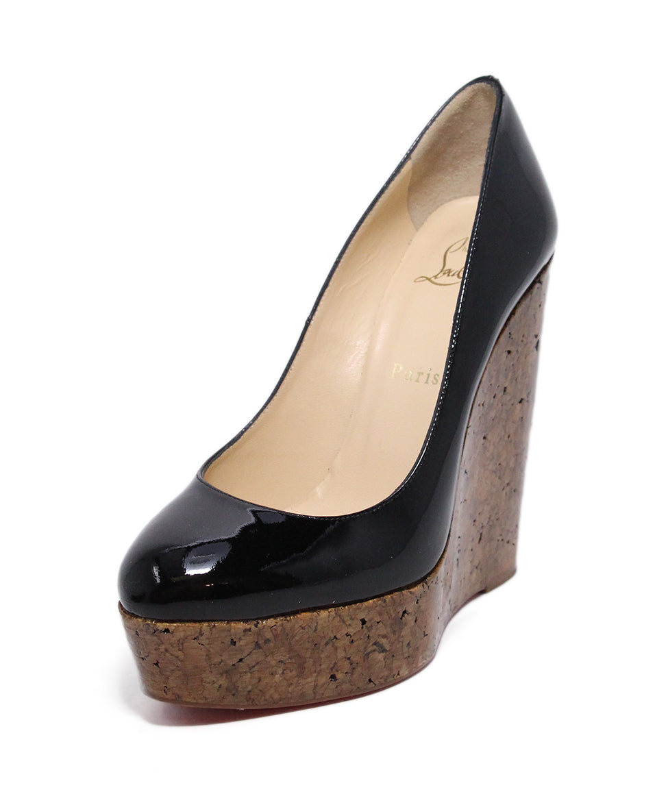 Christian Louboutin Black Patent Cork Wedges 1
