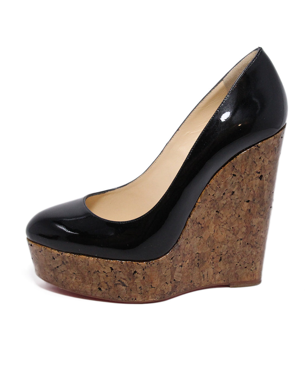 Christian Louboutin Black Patent Cork Wedges 2