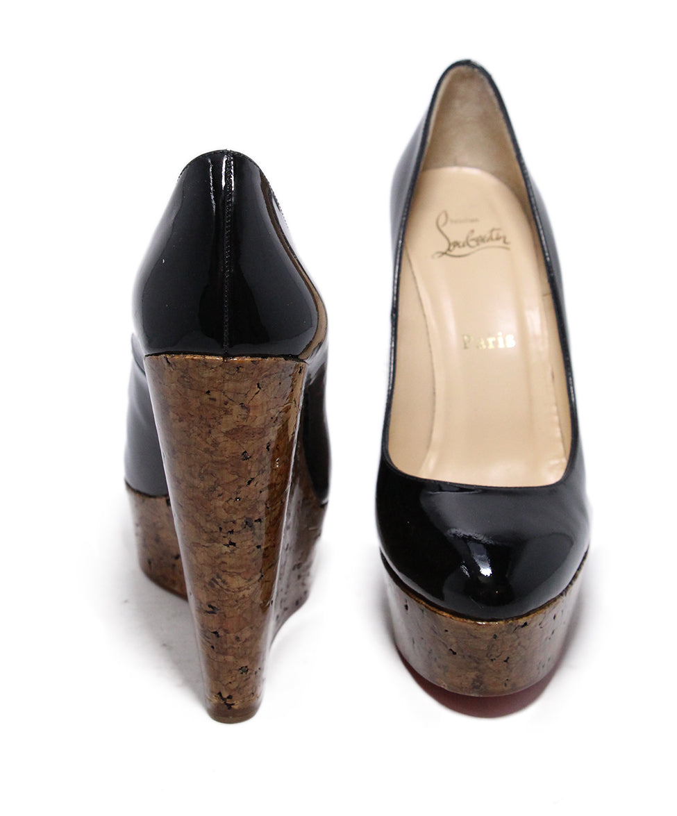 Christian Louboutin Black Patent Cork Wedges 3