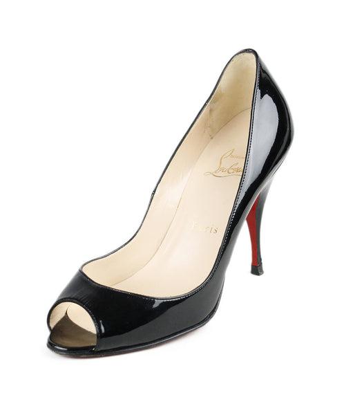 Christian Louboutin Black Patent Peep Toe Shoes Sz 37