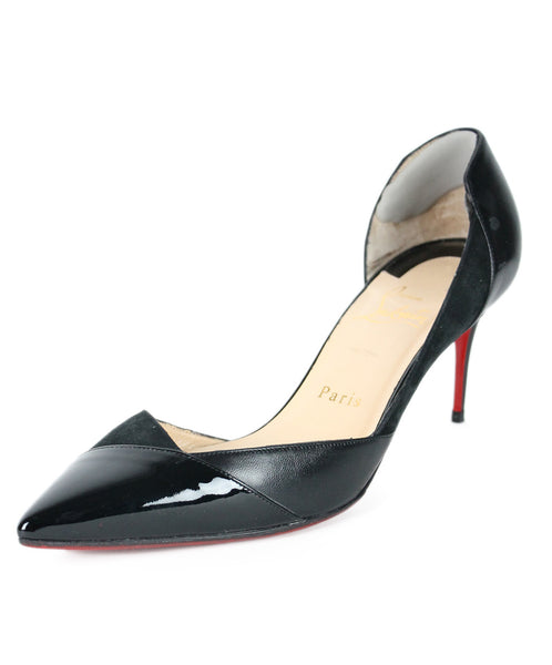 "Christian Louboutin US 8 Black Patent Leather Suede ""as is"" Shoes"